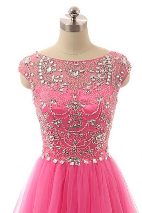Custom Beaded Prom Dress, Hot Pink Evening Dresses,Tulle Prom Dress, Beading Evening Dress, Hot Pink Prom Dress,Prom Gowns,,Formal Dress, Homecoming Dresses, Graduation Dress, Party Dress
