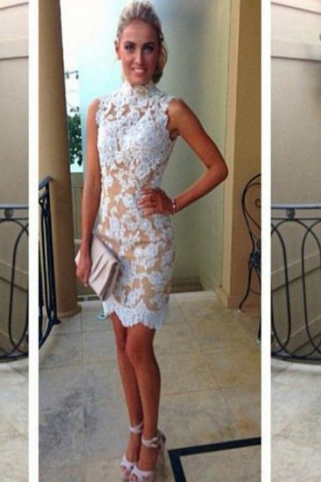 Short Prom Dress, High Neck Prom Dress, Lace Prom Dress, Cheap Prom Dress,Ivory Prom Dress,Prom Gown,Lace Evening Dress, Ivory Evening Dress, Short Evening Dress,Formal Dress, Homecoming Dresses, Graduation Dress, Party Dress