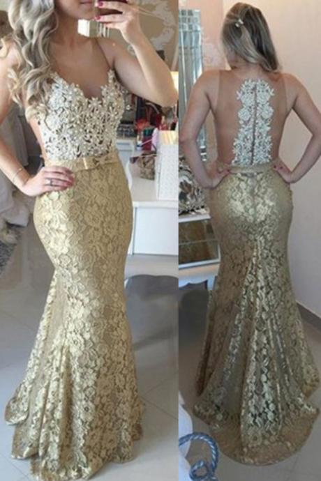 Gold Lace Prom Dress, Gold Prom Dress, Long Prom Dress,Mermaid Prom Dress,Illusion Prom Dress,Prom Gown,Gold Evening Dress, Mermaid Evening Dress, Lace Evening Dress, Illusion Evening Dress,Formal Dress, Homecoming Dresses, Graduation Dress, Party Dress