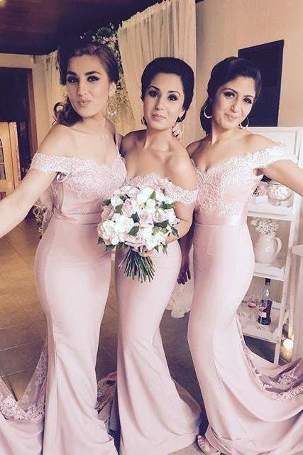 Mermaid Off-the-shoulder Long Prom Dress with Train, Mermaid Bridesmaid Dresses, Fashion Prom Bridesmaid Dress, Woman Dresses for Weddings and Events