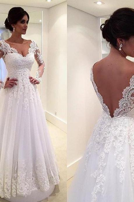 Open Back Floor Length Bridal Gowns, Long Sleeves Lace Beach Wedding Dresses, Sexy V Neck Wedding Dress, White Lace Wedding Gown