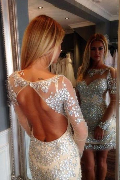 Luxury Rhinestones Short Prom Dresses with Long Sleeves, Illusion Tulle Neck Prom Gown, Sexy Homecoming Dress, Short Party Dresses, Bling Bling Prom Gown