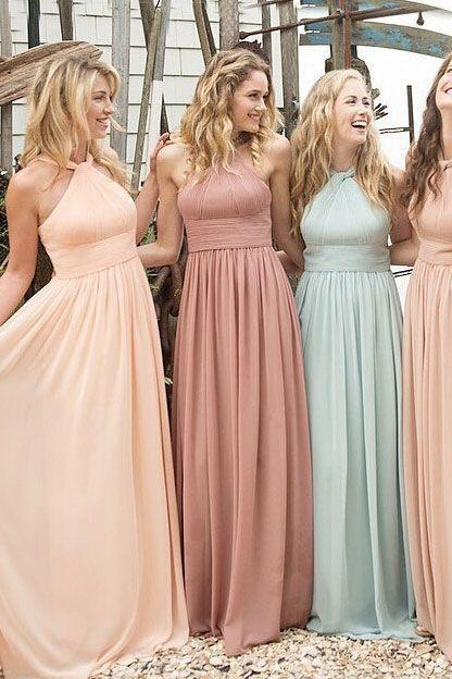 A-Line Chiffon Bridesmaid Dress,Cheap Bridesmaid Dress,Long Bridesmaid Dress,Halter Bridesmaid Dress,Elegant Bridesmaid Dress,Popular Bridesmaid Dress