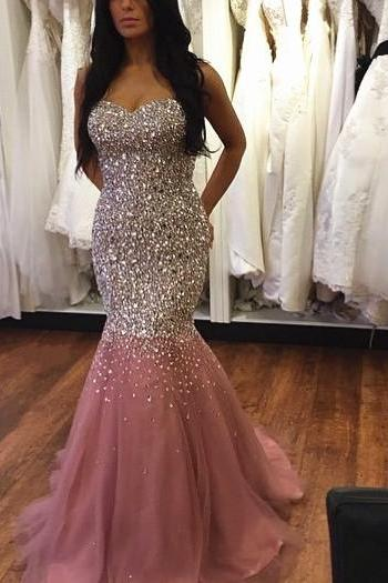 Blush Pink Prom Dress, Sparkle Prom Dress, Mermaid Prom Dress, Long Prom Dresses, Prom Gown, Evening Gown, Sweetheart Prom Dress, Mermaid Evening Dress, Formal Dresses. Graduation Dress, Cheap Prom Dress, Holiday Dresses, Party Dresses