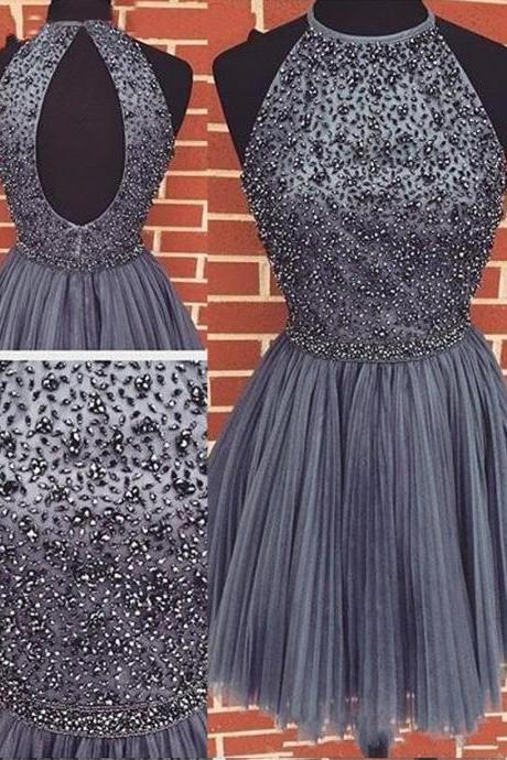 Short Grey Homecoming Dress 2017, Short Prom Homecoming Dresses, Sexy A-line Scoop Beaded Tulle Sleeveless Purple Backless Short Cocktail Homecoming Dress, Party Dress Open Back