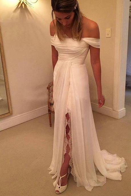 Fashion 2017 Off Shoulder Bridal Gowns Sweep Train Mermaid Lace Long Front Split Wedding Dress,Ivory Prom Dress,
