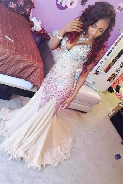 Mermaid Prom Dress,Long Prom Dresses,Champagne Prom Dress, Sparkle Prom Dress, Beaded Prom Dress,Mermaid Evening Dresses, champagne Evening Dress, Prom Dress, Prom Gown
