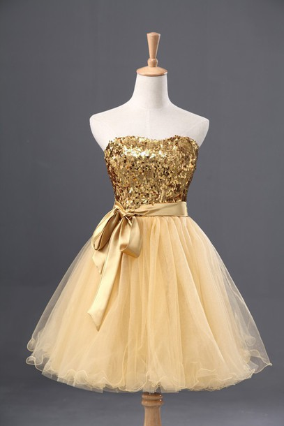 Gold Sequins Tulle Homecoming Dress with Sweetheart Neckline and Satin Sash