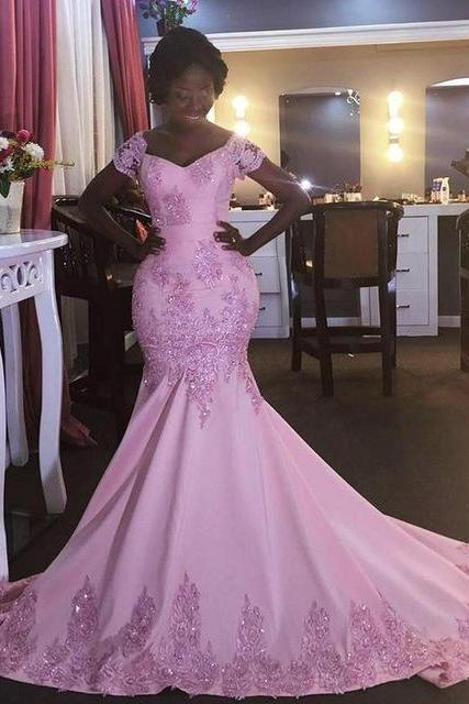 Pink Wedding Dress,Mermaid Prom Dresses,Pink Prom Gown,Prom Dresses Short Sleeves, Evening Gown Pink, Mermaid Evening Dress,Formal Dress,Maxi Dress,Party Dress,Ball Gown,Cocktail Dress,Graduation Dress