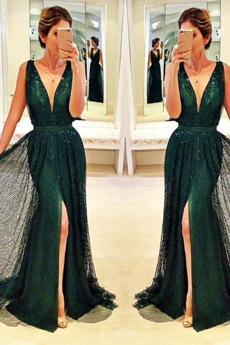 Long Dark Green Women's Evening Dress Sexy Prom Dresses Party Dresses