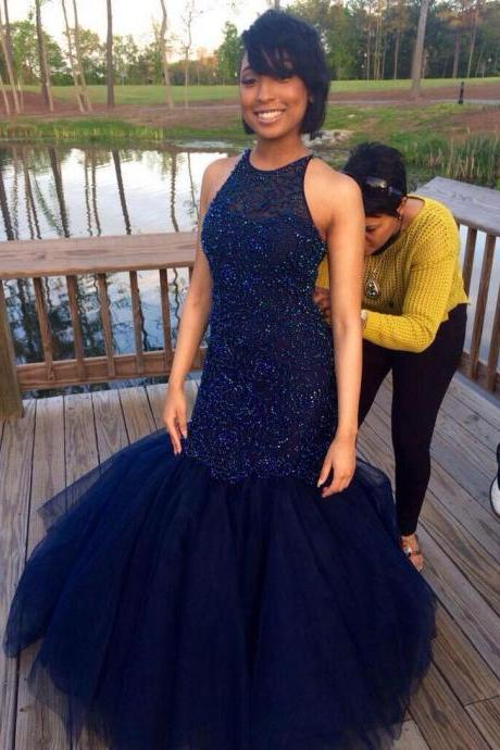 Heavy Beaded Mermaid Navy Blue Prom Dresses Long,Prom Gown,Formal Evening Dresses,Party Dress Cheap, Homecoming Dresses,Graduation Dress Custom Plus size