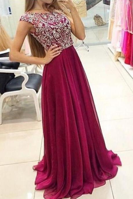 Dark Red prom dresses, Heavy beaded prom dress, prom dress long , prom gown, party dress, formal dress, evening dress, graduation dress, custom plus size