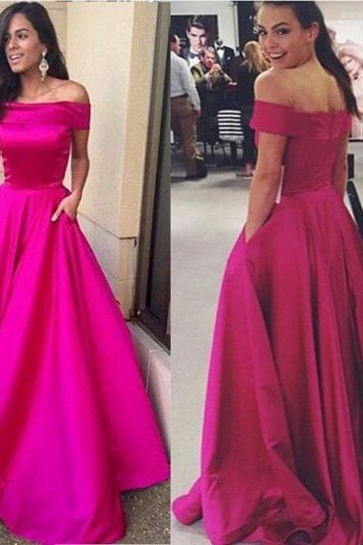 Prom dresses Hot Pink, prom dress Fuchsia , prom dress long , prom gown off the shoulder, party dress, formal dress, evening dress, graduation dress, custom plus size