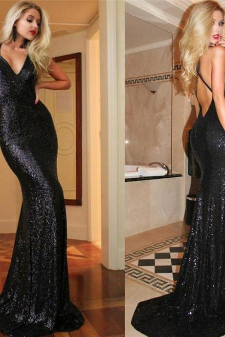 Custom Long Mermaid Sequins Prom Dresses Backless Sexy Evening Dresses Gowns Party Dresses Plus size Cheap