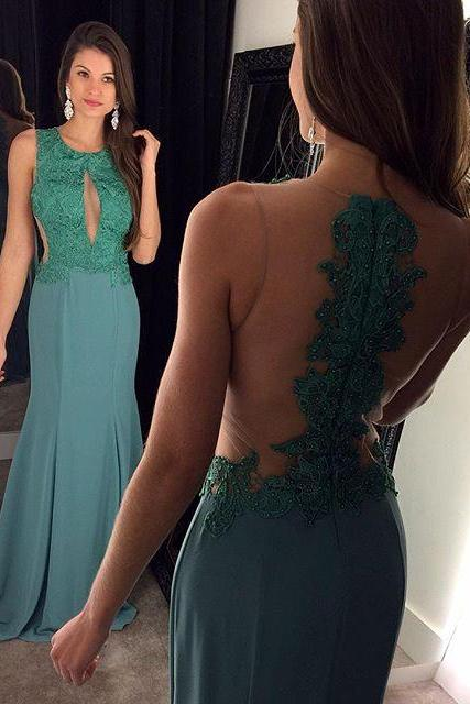Custom Illusion Backless Turquoise Prom Dresses Long Evening Dresses Gowns Night Dresses Party Dress Cheap Plus Size