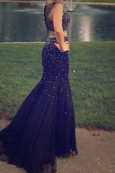 Prom Dresses, Prom Gown, Prom Dress Two Piece, Sparkle Prom Dress, Black Prom Dress,Graduation Dress,Evening Dress RT0021