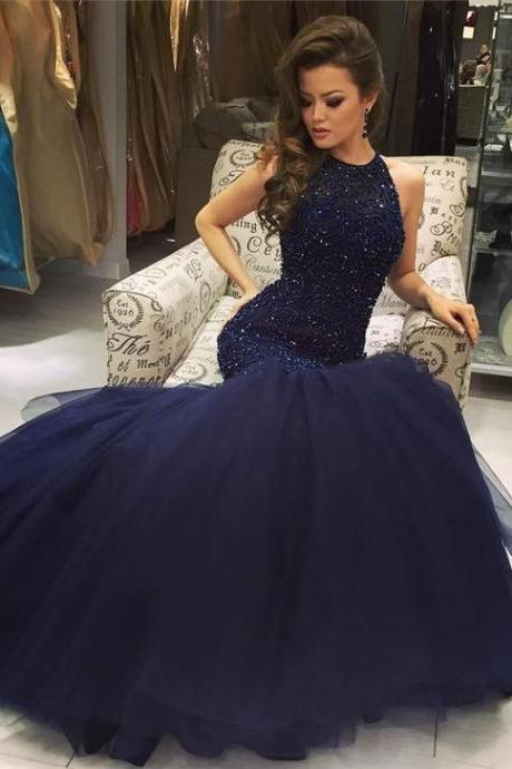Prom Dresses, Prom Gown, Prom Dress Mermaid,Navy Blue Prom Dress,Prom Dress Sparkle,Graduation Dress,Evening Dress RT0027