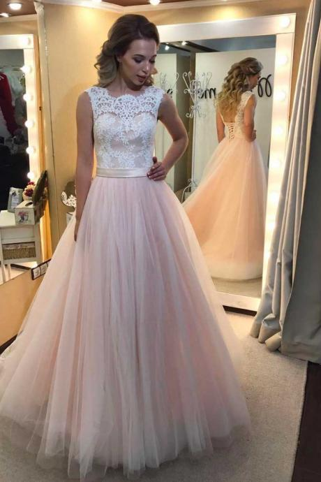 Prom Dresses, Prom Gown,Pink Prom Dress,Lace Prom Dress,Prom Dress Tulle,Graduation Dress,Evening Dress,Pink Wedding Dress RT0034