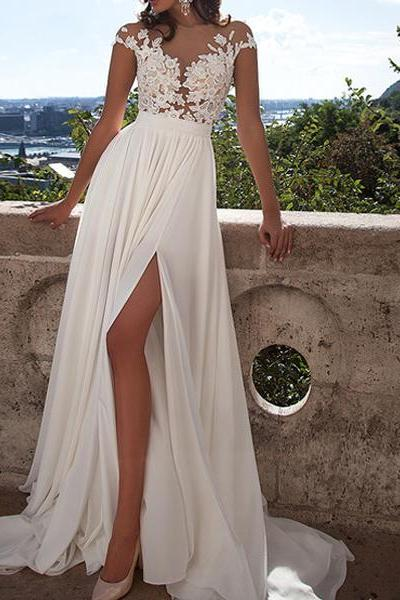 Prom Dresses, Prom Gown,Ivory Prom Dress,Prom Dress Short Sleeves,Lace Prom Dress,Prom Dress with Split,Graduation Dress,Evening Dress RT0038