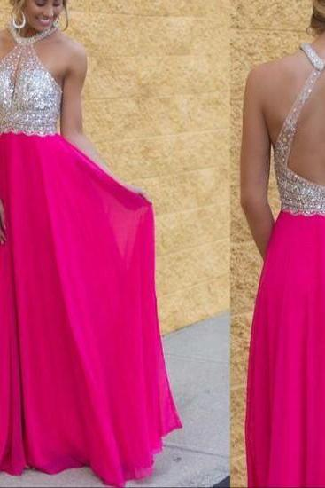 Prom Dresses, Prom Gown,Hot Pink Prom Dress,Prom Dress Open Back,Long Prom Dress,Graduation Dress,Evening Dress RT0040