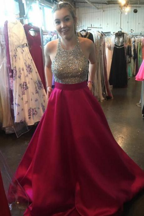 Prom Dresses, Prom Gown,Burgundy Prom Dress,Halter Prom Dress,Cheap Prom dress,Prom Dress Long,Formal Dress,Evening Dress RT0052