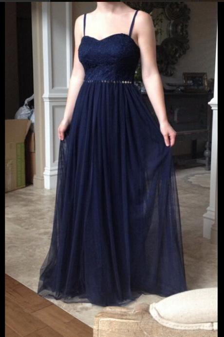 Navy Blue Prom Dresses, Prom Gown,Lace Prom Dress,Lace Prom Dress,Prom dress with Spaghetti Straps,Formal Dress,Evening Dress RT0071