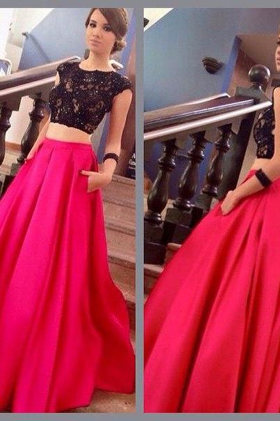 Prom Dresses,Prom Gown,Two Piece Prom Dress, Red Prom Dress,Open Black Prom Dress,Formal Dress,Evening Dress Custom Plus size RT0107