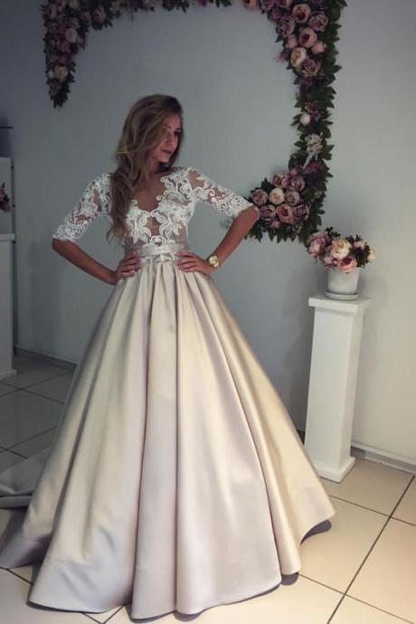 Custom Ball Gown Champagne Wedding Dresses Half Sleeves 2017, Bridal Dresses Gowns, See Through Wedding Dress