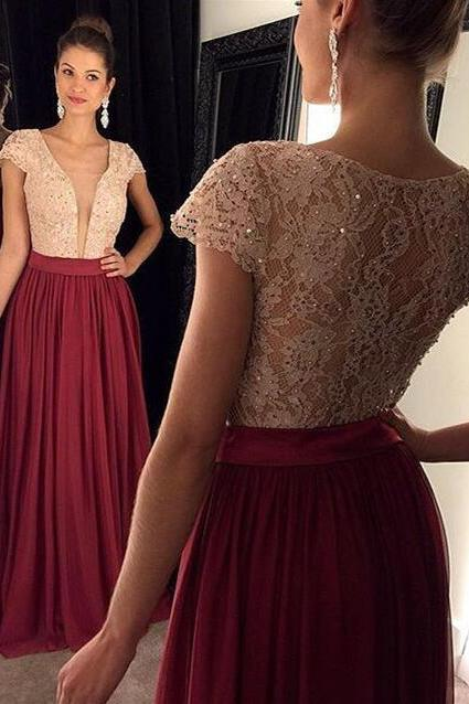 Prom Dresses,Prom Gown,Burgundy Prom Dress,Prom Dress Short Sleeves,Prom Dress Lace,Prom Dress Cheap,Formal Dress,Evening Dress,Custom Plus size RT0148