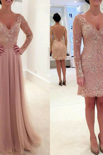 Prom Dresses,Prom Gown,Blush Pink Prom Dress,Prom Dress Long Sleeves,Lace Prom Dress,Formal Dress,Evening Dress,Custom Plus size RT0157