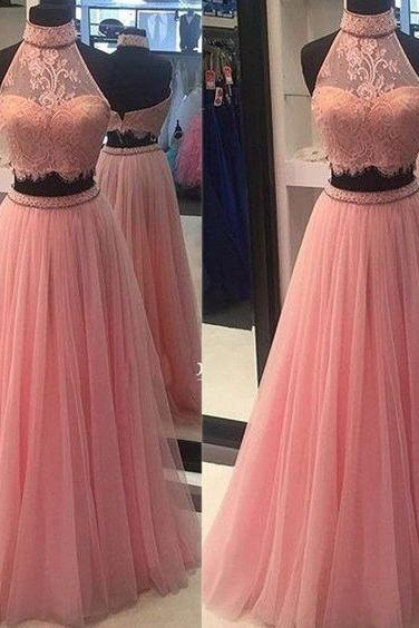Prom Dresses,Prom Gown,Baby Pink Prom Dress,Prom Dress Two Piece,Lace Prom Dress,Prom Dress Cheap,Formal Dress,Evening Dress,Custom Plus size RT0161