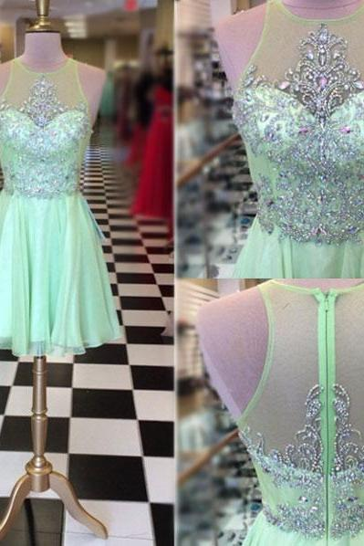 Prom Dresses,Prom Gown,Prom Dress Short,Prom Dress Sage Green,Prom Dress See-through,Homecoming Dress,Formal Dress,Evening Dress,Custom Plus size RT0171