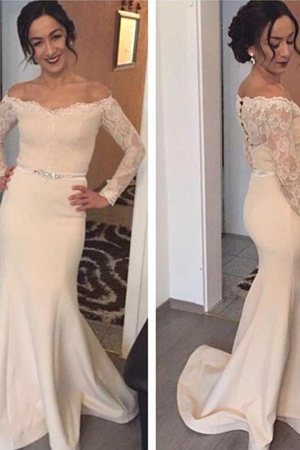 Prom Dresses,Prom Gown,Prom Dress Mermaid,Prom Dress Ivory,Prom Dress Long Sleeves,Formal Dress,Evening Dress,Bridesmaid Dress,Custom Plus size RT0173