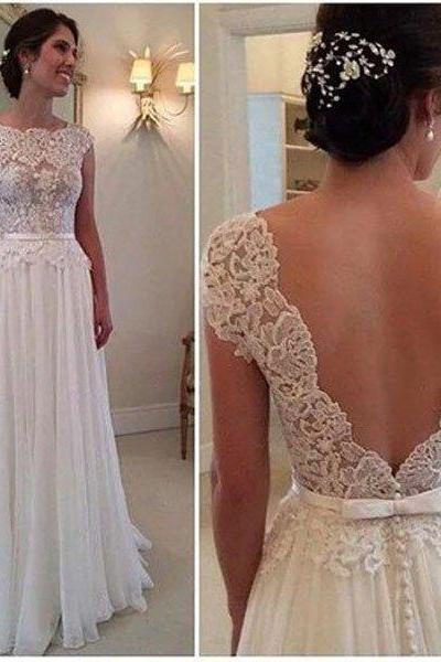 Lace Beach Wedding Dress Cap Sleeves 2017,Wedding Dress Open Back,Bridal Dresses Gowns, Wedding Gown Custom Cheap