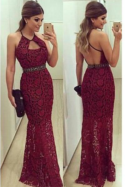 Prom Dress,Burgundy Prom Dress, Lace Prom Dress,Prom Gown,Sheath Prom Dress,Prom Dress Cheap,Open Back Prom Dress,Affordable Prom Dress,Junior Prom Dress,Formal Dress,Evening Dresses,Party Dress,Custom Plus size