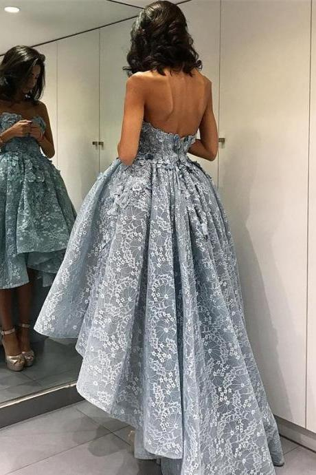 Prom Dress,Silver Prom Dress, Lace Prom Dress,Prom Gown,High Low Prom Dress,Prom Dress Cheap,Affordable Prom Dress,Junior Prom Dress,Formal Dress,Evening Dresses,Party Dress,Custom Plus size