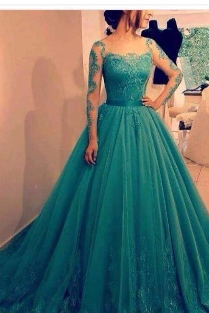 Prom Dress,Prom Gown,Teal Prom Dress,Lace Prom Dress,Prom Dress Long Sleeves,Prom Dress Cheap,Formal Dress,Evening Dress,Custom Plus size