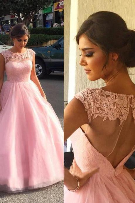 Prom Dress,Prom Gown,Pink Prom Dress,Lace Prom Dress,Prom Dress Open Back,Pink Quinceanera Dress, Pink Wedding Dress,Formal Dress,Evening Dress,Custom Plus size