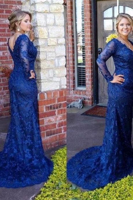 Prom Dress,Prom Gown,Lace Prom Dress,Royal Blue Prom Dress,Prom Dress Long Sleeves,Mermaid Prom Dress,Formal Dress,Evening Dress,Custom Plus size