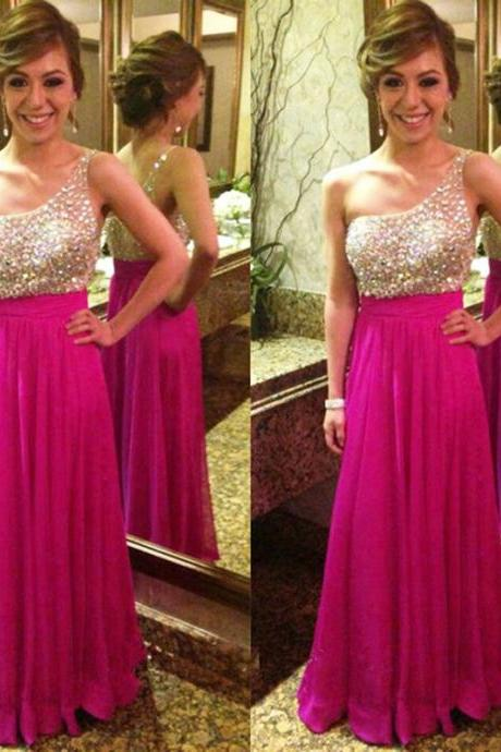 Hot Pink Prom Dress,Prom Dress,Prom Gown,One Shoulder Prom Dress,Cheap Prom Dress,Prom Dress Long,Affordable Prom Dress,Formal Dress,Evening Dress,Custom Plus size
