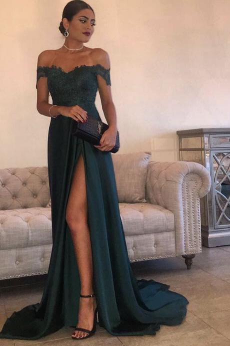 Dark Green Prom Dress,Prom Dress,Prom Gown,Off Shoulder Prom Dress,Cheap Prom Dress,Prom Dress Long,Affordable Prom Dress,Lace Prom Dress,Formal Dress,Evening Dress,Custom Plus size