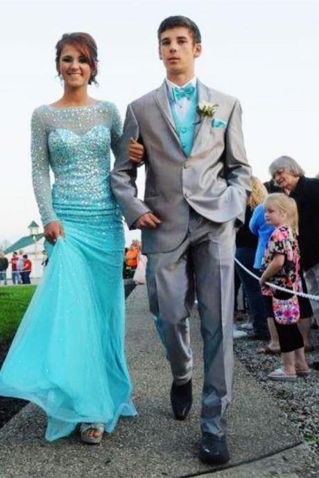 Ice Blue Prom Dress,Prom Dress,Prom Gown,Long Sleeves Prom Dress,Cheap Prom Dress,Prom Dress Sheath,Affordable Prom Dress,Formal Dress,Evening Dress,Custom Plus size