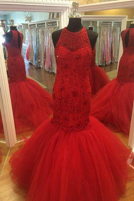 Red Prom Dress,Prom Gown,Mermaid Prom Dress,Heavy Beaded Prom Dress,Affordable Prom Dress,Formal Dress,Evening Dress,Custom Plus size