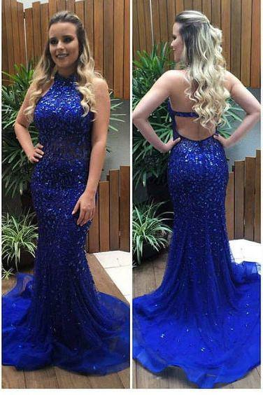 Heavy Beaded Royal Blue Long Mermaid Prom Dress Gown Backless Sexy,Formal Dress,Evening Dress Cheap