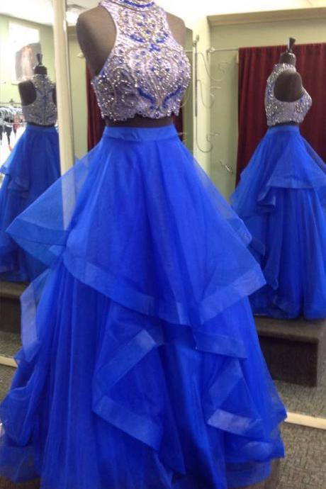 Royal Blue Two Piece Prom Dress Gown Beaded,Formal Dress,Cocktail Dress,Evening Dress,Graduaiton Dress Cheap