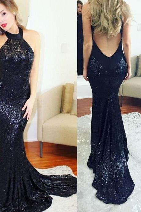 Bling Bling Long Mermaid Dark Navy Sequins Prom Dress Gown Open Back,Formal Dress,Cocktail Dress,Evening Dress,Party Dress,Graduaiton Dress Cheap