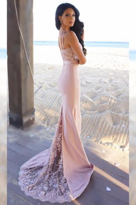 Long Mermaid Pink Prom Dress Gown with Spaghetti Straps,Formal Dress,Cocktail Dress,Evening Dress,Party Dress,Graduaiton Dress Cheap