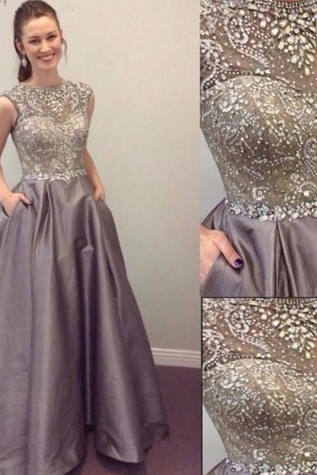 Heavy Beaded Silver Prom Dress Gown Long,Formal Dress,Cocktail Dress,Evening Dress,Party Dress,Graduaiton Dress Cheap