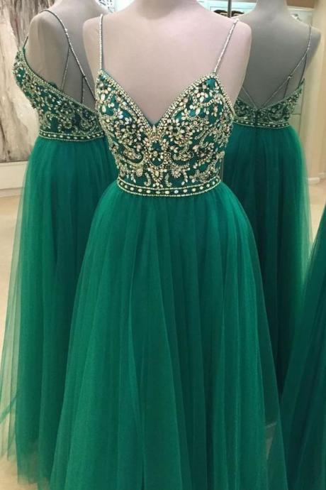 Long Green Prom Dress Gown with Spaghetti Straps,Formal Dress,Cocktail Dress,Evening Dress,Party Dress,Graduaiton Dress Cheap