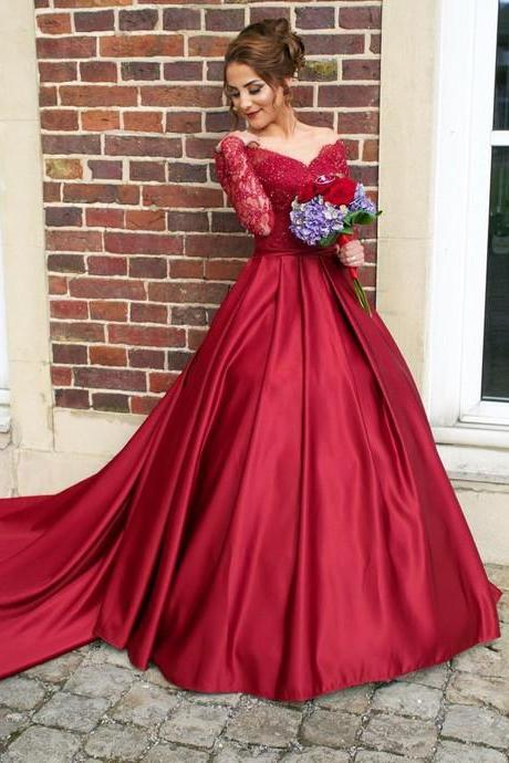 Burgundy Prom Dress Gown with Long Sleeves,Formal Dress,Cocktail Dress,Evening Dress,Party Dress,Graduaiton Dress Cheap